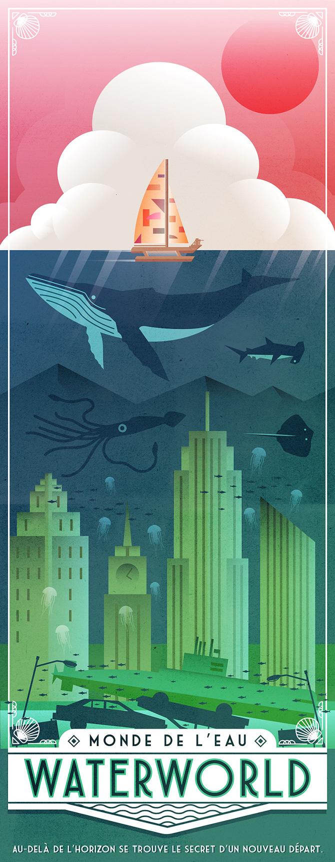 Waterworld Travel Poster