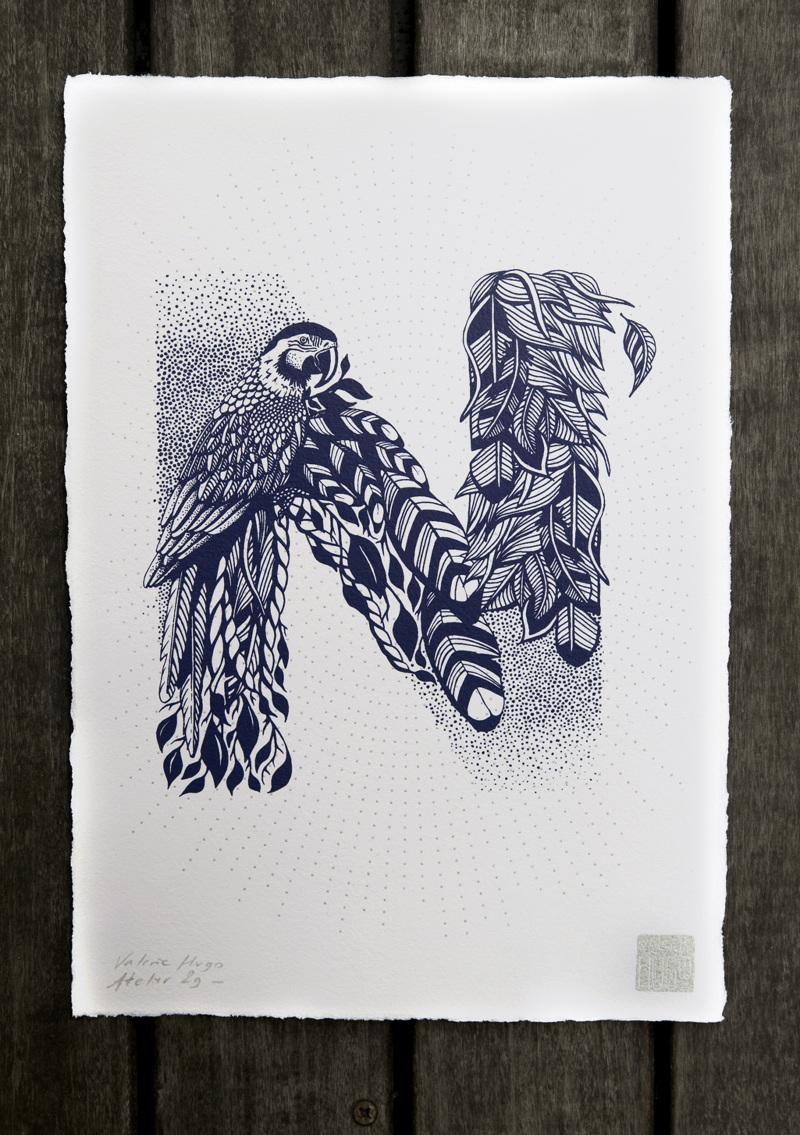Alfabeto inspirado en la naturaleza - N