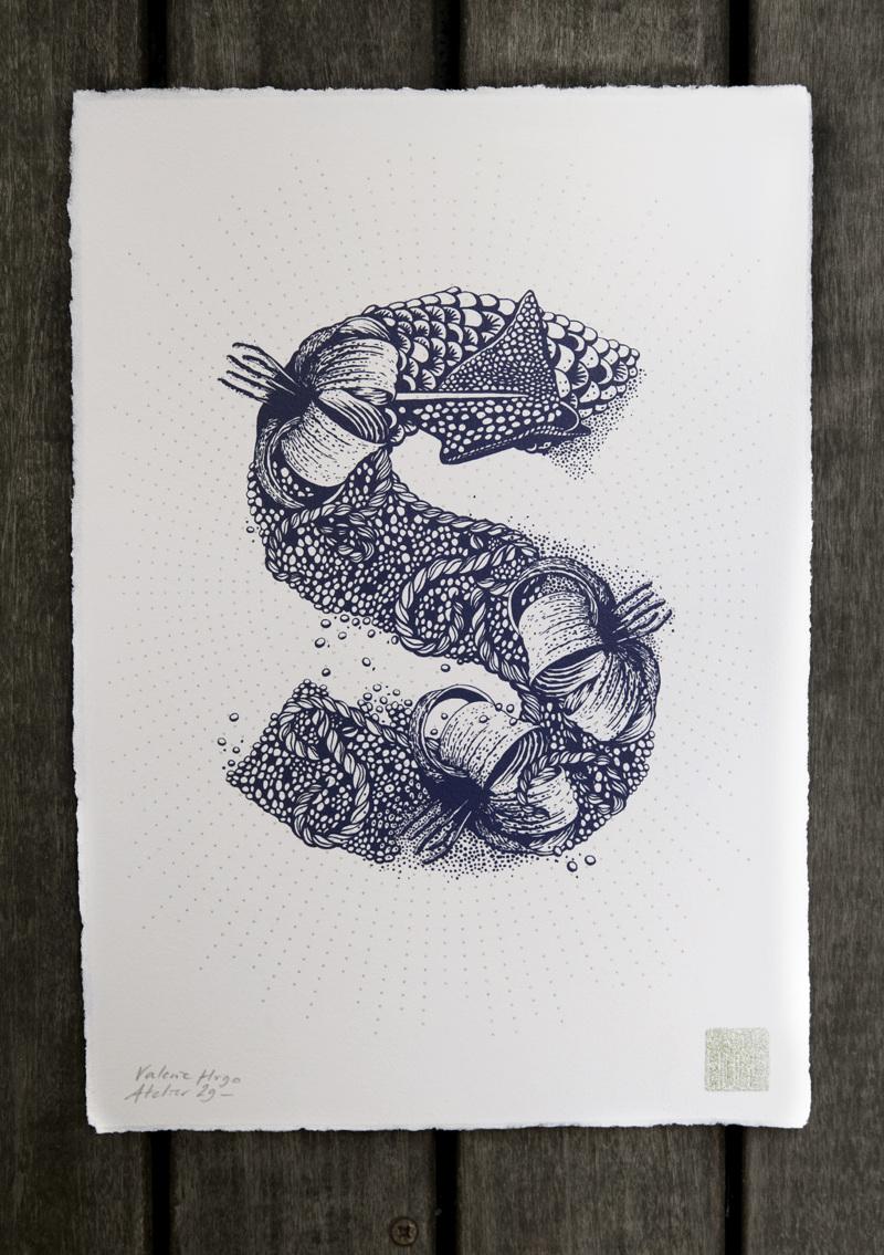 Alfabeto inspirado en la naturaleza - S