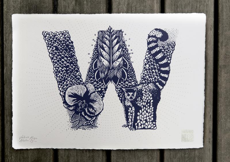 Alfabeto inspirado en la naturaleza - W